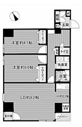 菱和パレス銀座八丁目 4階2LDKの間取り