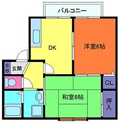 兵庫県神戸市東灘区御影郡家1丁目の賃貸アパートの間取り