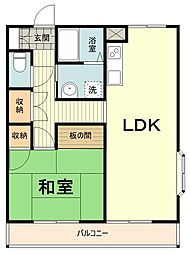 カーザ・フィオーレ 3階1DKの間取り