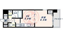 近鉄南大阪線 河堀口駅 徒歩7分の賃貸マンション 11階1DKの間取り
