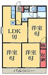 JR総武本線 四街道駅 徒歩25分の賃貸アパート 2階3LDKの間取り
