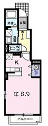 久米川グランツII 1階ワンルームの間取り