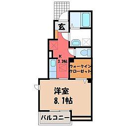 JR東北本線 宇都宮駅 バス40分 ゆいの杜6丁目下車 徒歩5分の賃貸アパート 1階1Kの間取り
