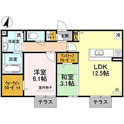 リ:エストI 1階2LDKの間取り
