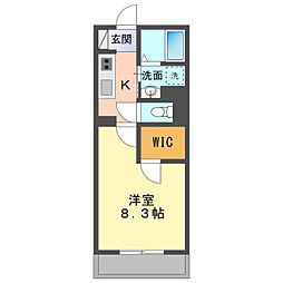 名鉄名古屋本線 矢作橋駅 徒歩17分の賃貸アパート 1階1Kの間取り