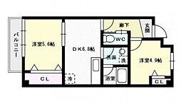 福岡県福岡市城南区樋井川6丁目の賃貸マンションの間取り