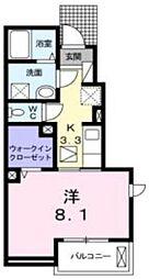 東武東上線 新河岸駅 徒歩15分の賃貸アパート 1階1Kの間取り