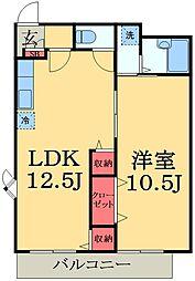 千葉県市原市北国分寺台1丁目の賃貸アパートの間取り