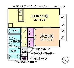 大阪府豊中市刀根山2丁目の賃貸アパートの間取り