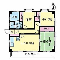 西嶋マンション B[3号室]の間取り