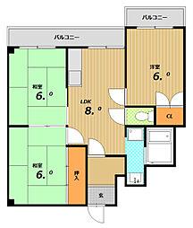 クラン南町[3階]の間取り