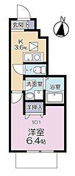 京王線 仙川駅 徒歩11分の賃貸アパート 1階1Kの間取り