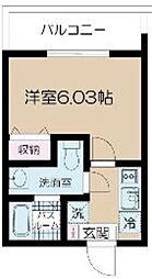 都営大江戸線 光が丘駅 徒歩9分の賃貸マンション 2階1Kの間取り