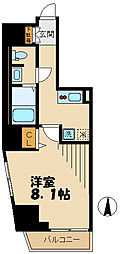 京王線 府中駅 徒歩7分の賃貸マンション 11階1Kの間取り