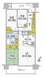 JR京浜東北・根岸線 大宮駅 徒歩7分の賃貸マンション 6階3LDKの間取り