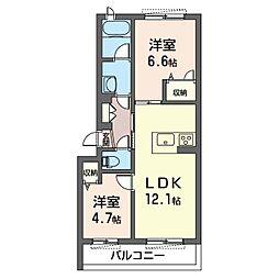 アンビエラ 1階2LDKの間取り