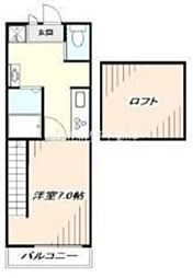 西武新宿線 花小金井駅 徒歩5分の賃貸アパート 2階1Kの間取り