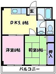 美原北野マンション[3階]の間取り