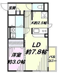 JR青梅線 東中神駅 徒歩9分の賃貸アパート 1階1LDKの間取り