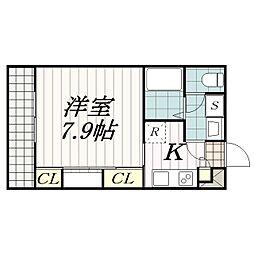 千葉県千葉市中央区東本町の賃貸アパートの間取り