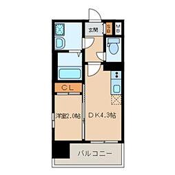MODERN PALAZZO 大濠スクエア 7階1DKの間取り