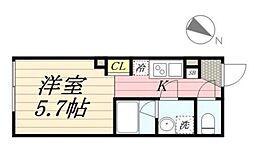 PASEO代田橋 2階1Kの間取り