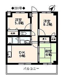 フィネス松隈[201号室]の間取り