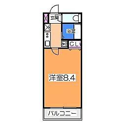 南海高野線 白鷺駅 徒歩3分の賃貸マンション 3階1Kの間取り