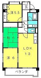 愛知県豊田市今町2丁目の賃貸マンションの間取り