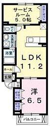 カーサ デ ラ リベラ 3階1SLDKの間取り