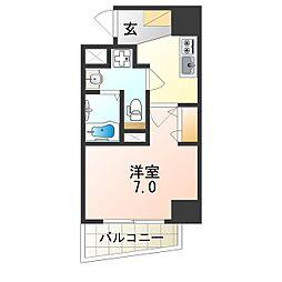 Osaka Metro谷町線 阿倍野駅 徒歩6分の賃貸マンション 2階1Kの間取り