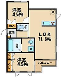 JR武蔵野線 北府中駅 徒歩15分の賃貸マンション 2階2LDKの間取り