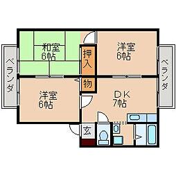 滋賀県大津市本堅田3丁目の賃貸アパートの間取り