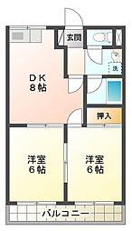 愛知県豊田市日之出町2丁目の賃貸アパートの間取り