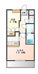 南海高野線 萩原天神駅 3.2kmの賃貸アパート 2階1LDKの間取り