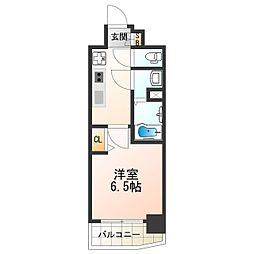 近鉄南大阪線 河堀口駅 徒歩2分の賃貸マンション 7階1Kの間取り