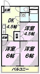 東京都八王子市中野山王1丁目の賃貸マンションの間取り
