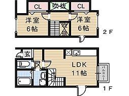 大阪府大阪市住吉区長居東3丁目の賃貸アパートの間取り