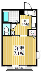 東京都中野区弥生町5丁目の賃貸アパートの間取り
