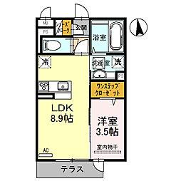 Osaka Metro御堂筋線 北花田駅 徒歩9分の賃貸アパート 1階1LDKの間取り