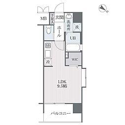 西鉄天神大牟田線 西鉄平尾駅 徒歩8分の賃貸マンション 11階ワンルームの間取り