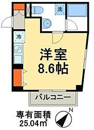 成田スカイアクセス 東松戸駅 徒歩6分の賃貸マンション 3階ワンルームの間取り