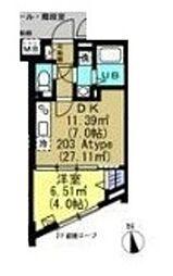 小田急小田原線 世田谷代田駅 徒歩16分の賃貸マンション 2階1DKの間取り