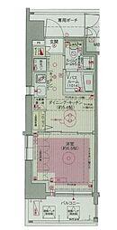 エステムプラザ飯田橋タワーレジデンス 5階1DKの間取り