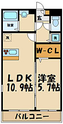 グラン・コンフォール 2階1LDKの間取り