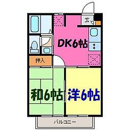 栃木県小山市大字間々田の賃貸アパートの間取り