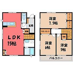 平松本町メゾネット IV 2階3LDKの間取り