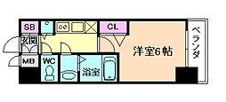 プレサンス大阪福島レシェンテ 4階1Kの間取り