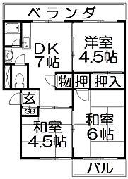 御殿山コーポA棟[3階]の間取り
