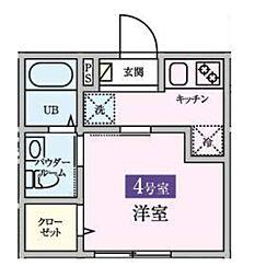 東武野田線 岩槻駅 徒歩6分の賃貸アパート 1階1Kの間取り